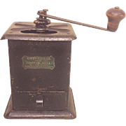 Antique Universal #110 Coffee Mill Metal Case with Label New Britain CT
