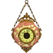 Antique Henry Farcot L P Japy & Cie Brevete Porcelain Cartel Clock Open Escapement Porcelain Face Running & Striking  Late 1887-1888 France