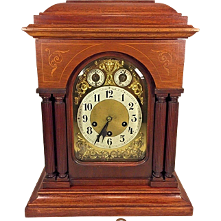 Antique Junghans Bracket Clock Westminster Chimes Runs Strikes and Chimes Wood Inlay and Columns on Door Wurttemberg Germany 1908