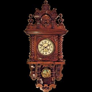 Antique Bernhard Paschen (BP) Free Swinger Clock with Floral Porcelain Face Castle Scene Pendulum Bob Runs Strikes