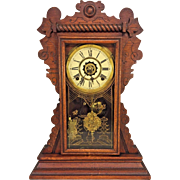 Antique Waterbury Gingerbread Clock Mansfield Model Runs Strikes Nice Wood Case Alarm Unit