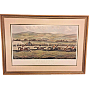 Vintage Punchestown The Conyngham Cup 1872 The Finish  Steeplechase Framed & Matted by Newman Gallery of Philadelphia PA