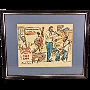 Vintage Jazz Hand Colored Sketch by Donabeth Jones Preservation Hall Jazz Band in Frame
