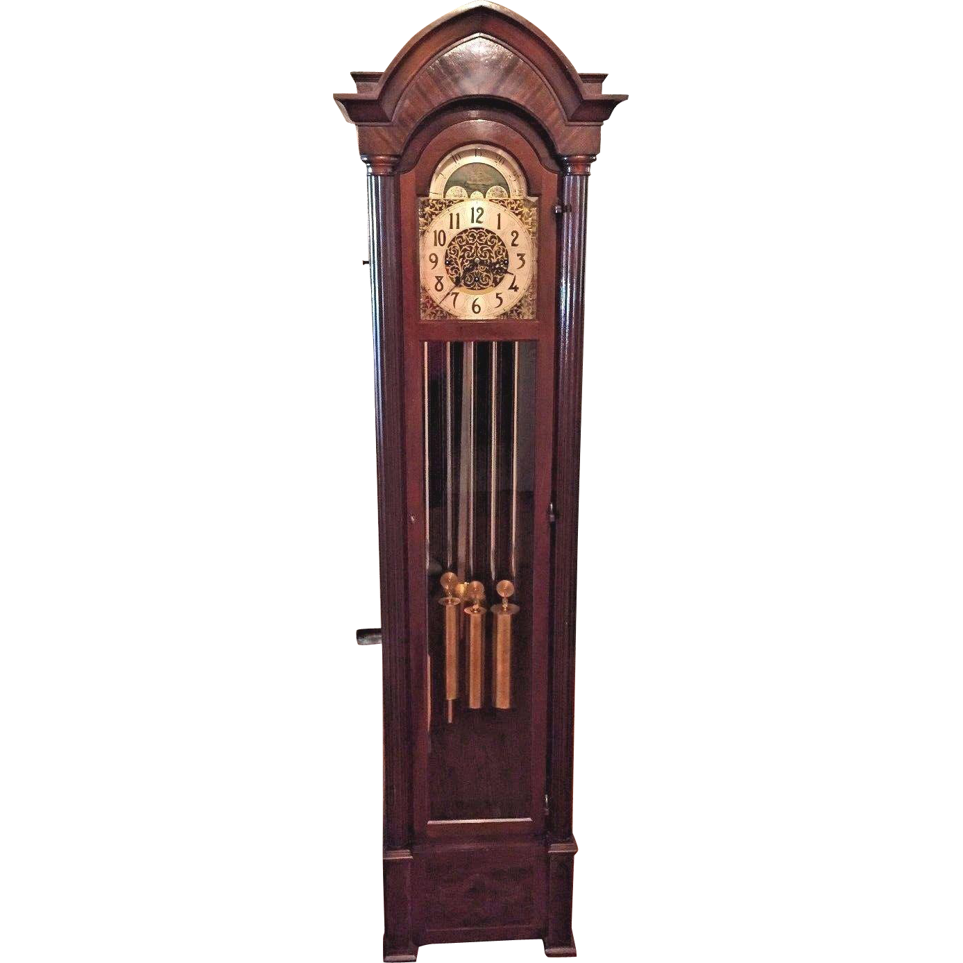 grandfather clock png. vintage hanson clock co grandfather winterhalder \u0026 hofmeier mvt 5 tube strike westminster chimes rockford il png