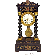 Antique French Portico Empire Clock 4 Spiral Turned Columns French Movement Not Running Strikes