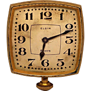 Vintage Elgin Automobile Clock Runs  Elegant Gold Colored Case and Unique Shape
