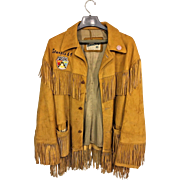 Vintage 1969 Sturgis Motorcycle Rally Buckskin Leather Jacket w/ Tassels by William Barry Jimmi Hendrix Pin & Ford Emblem