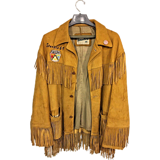 Vintage 1969 Sturgis Motorcycle Rally Buckskin Leather Jacket w/ Tassels by William Barry Jimmi Hendrix Pin & Ford Emblem