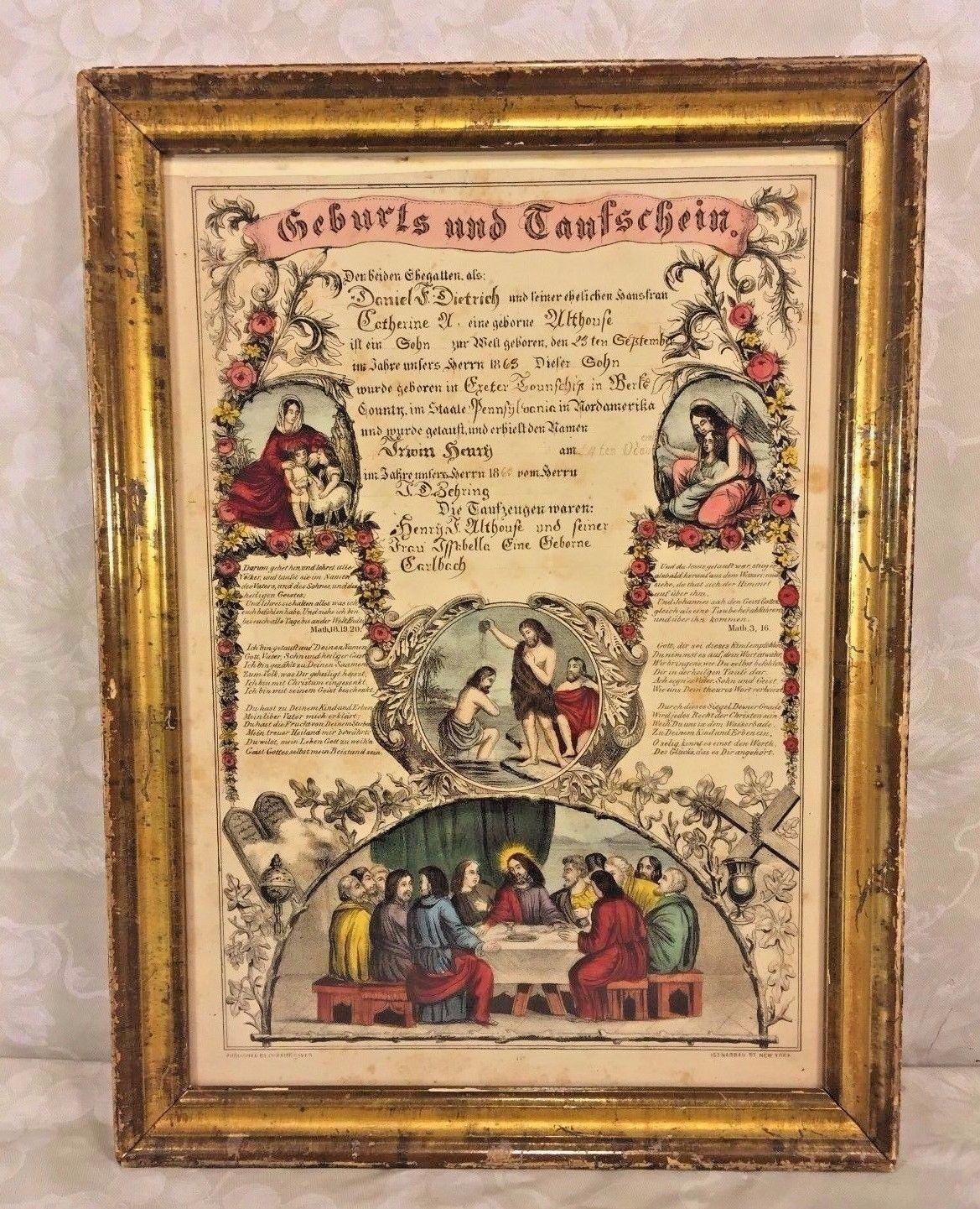 Antique printed birth baptism certificate john dietrich 1863 roll over large image to magnify click large image to zoom xflitez Gallery