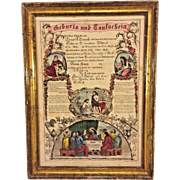 Antique Printed Birth & Baptism Certificate John Dietrich 1863 Berks County PA in Frame Currier & Ives Print