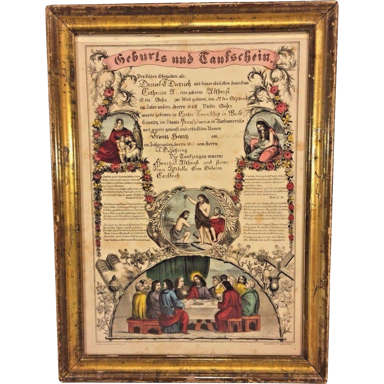 Antique printed birth baptism certificate john dietrich 1863 antique printed birth baptism certificate john dietrich 1863 berks county pa in frame currier ives print aiddatafo Images