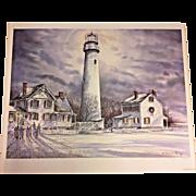 Vtg James McGlynn Limited Edition Print # 21/900 Fenwick Island Lighthouse 1994