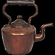 Antique Copper Tea Kettle Some Solder Repairs Along Back and Bottom Nice Gooseneck Spout