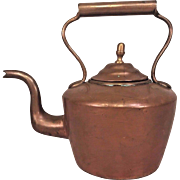 Antique Copper Tea Kettle Nice Goose Neck Spout
