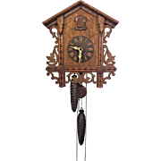 Antique Cuckoo Clock with Inlay 1 Day Movement Runs? Strikes? Railroad Station Style German Mvmt American Cuckoo Clock Company USA