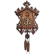 Antique Cuckoo Clock with Marquetry Inlay  1 Day Movement Not Running/Striking  Railroad Station Style German Mvmt American Cuckoo Clock Company USA