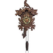 Antique Cuckoo Clock Nice Bird Topper 1 Day Movement Runs Strikes Railroad Station Style German Movement