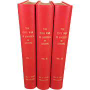 Pictorial History of The Civil War in America Vols 1-3 1866 First Edition What Printing? By Benson Lossing Red Cloth Bindings with Leather Overlay Rebound