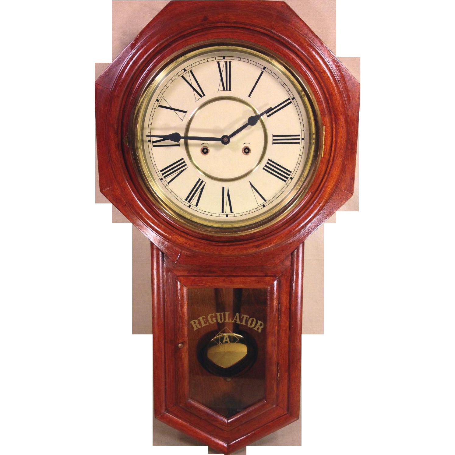 Ansonia Long Drop Regulator Clock Runs And Strikes Made In