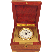 J E Caldwell Quartz Clock in Wood Case with Brass Corners Runs Swiss Made by Matthew Norman