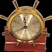 Vintage Swift Instruments Keywound Brass Ship's Wheel Clock Runs Swiss Movement  Boston MA Wood Base