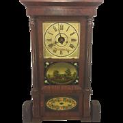 Antique Triple Decker Forestville Clock Mahogany Veneer Case Great Glass Tablets Cast Iron Weights Column and Cornice Runs & Strikes