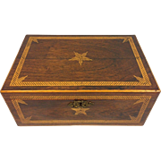 Vintage Inlaid Wood Box with Star Design Brass Hinges Beautifully Detailed