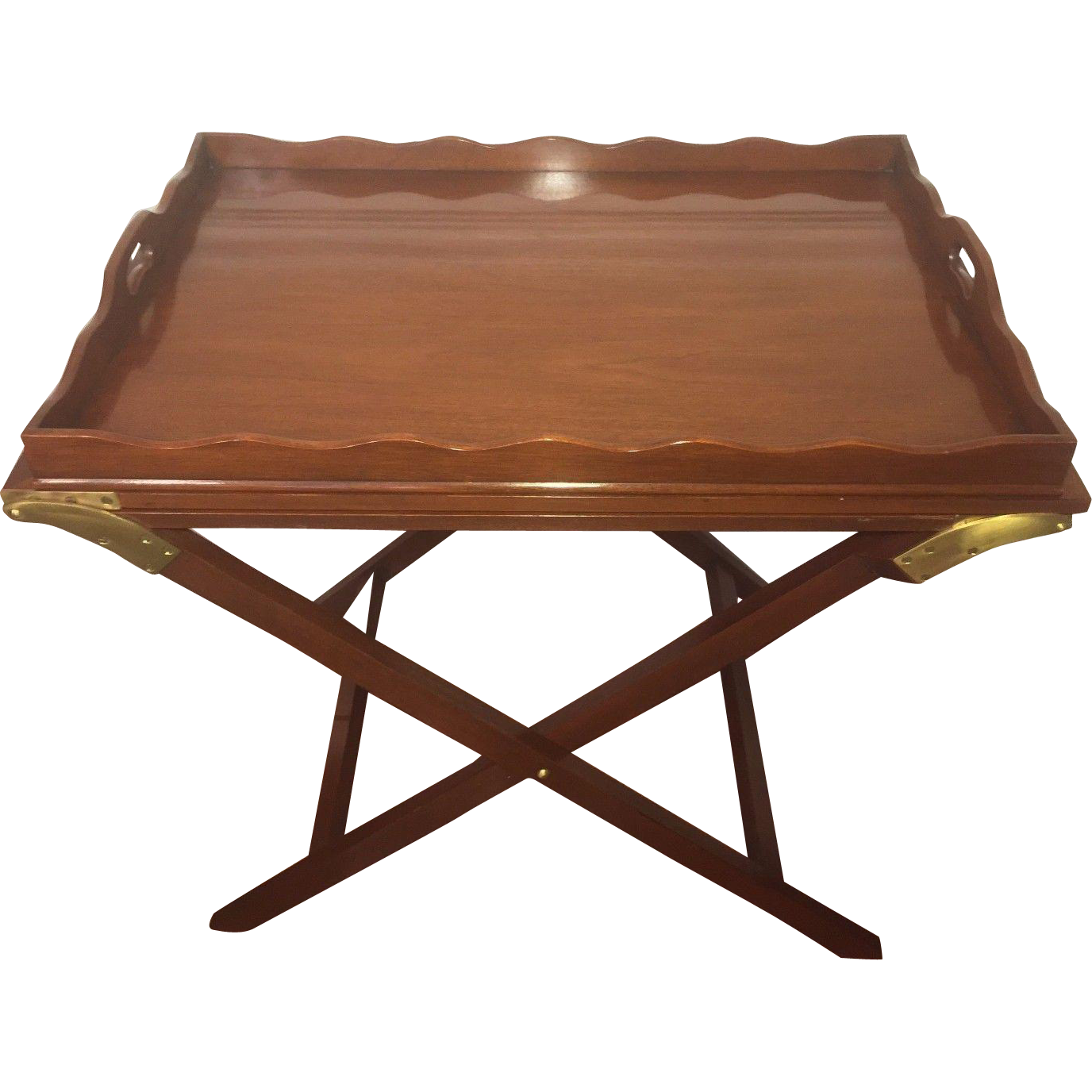 Exceptionnel Vtg Baker Mahogany Party Butler Table Double Fold Out Top Tray Brass :  TimelessTokensDE | Ruby Lane