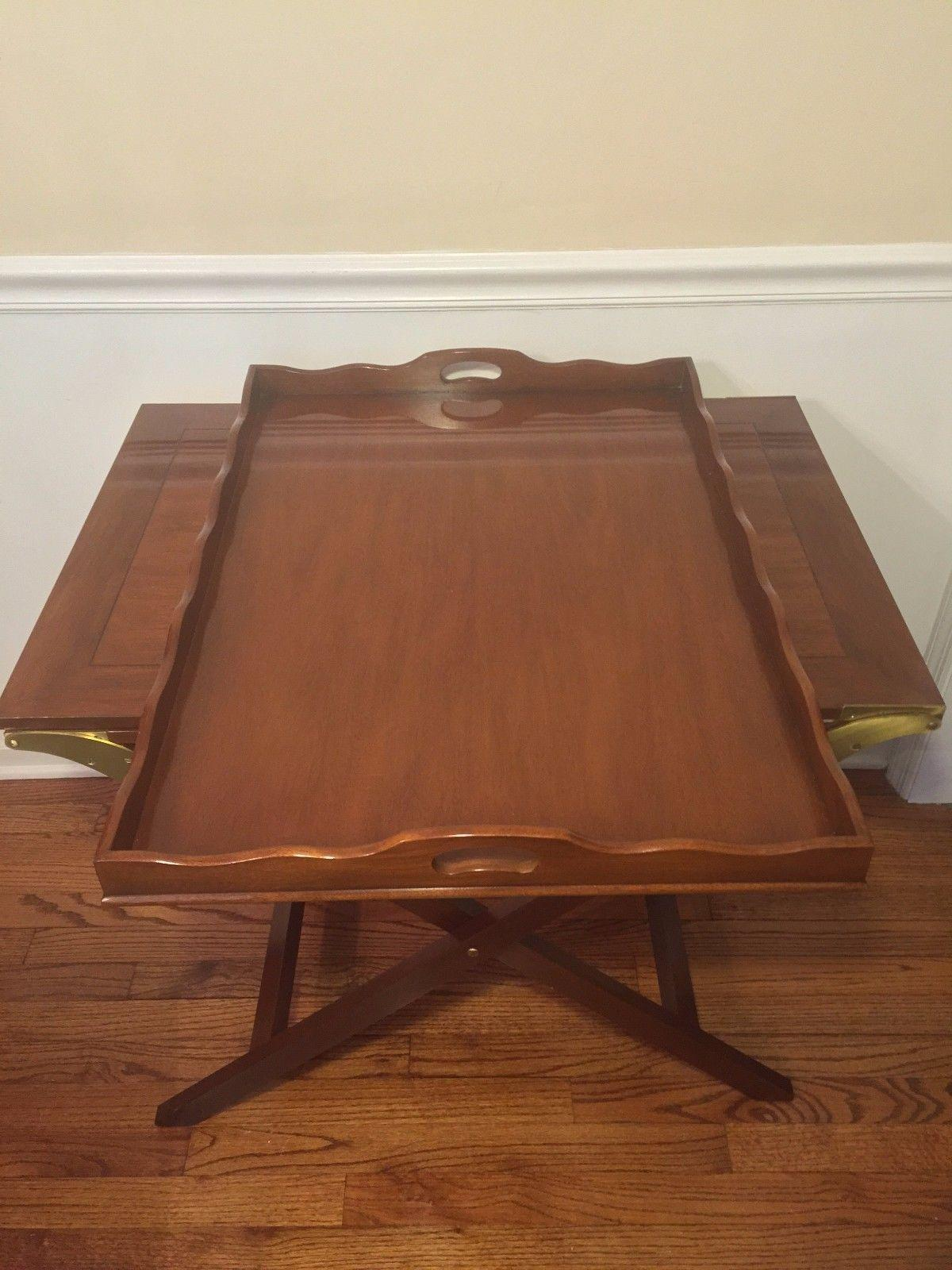 vtg baker mahogany party butler table double fold out top tray