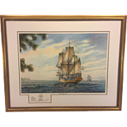 William Dawson Limited Editon Signed Print with Remarque Kalmar Nyckel - 1638 #6/350  Hand Signed and Numbered