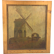 Antique Oil Painting on Wood Panels Windmill Wagon & People 17th to 18th Centuries Norman or Belgian Origination Chesterton Windmill or Newport Tower
