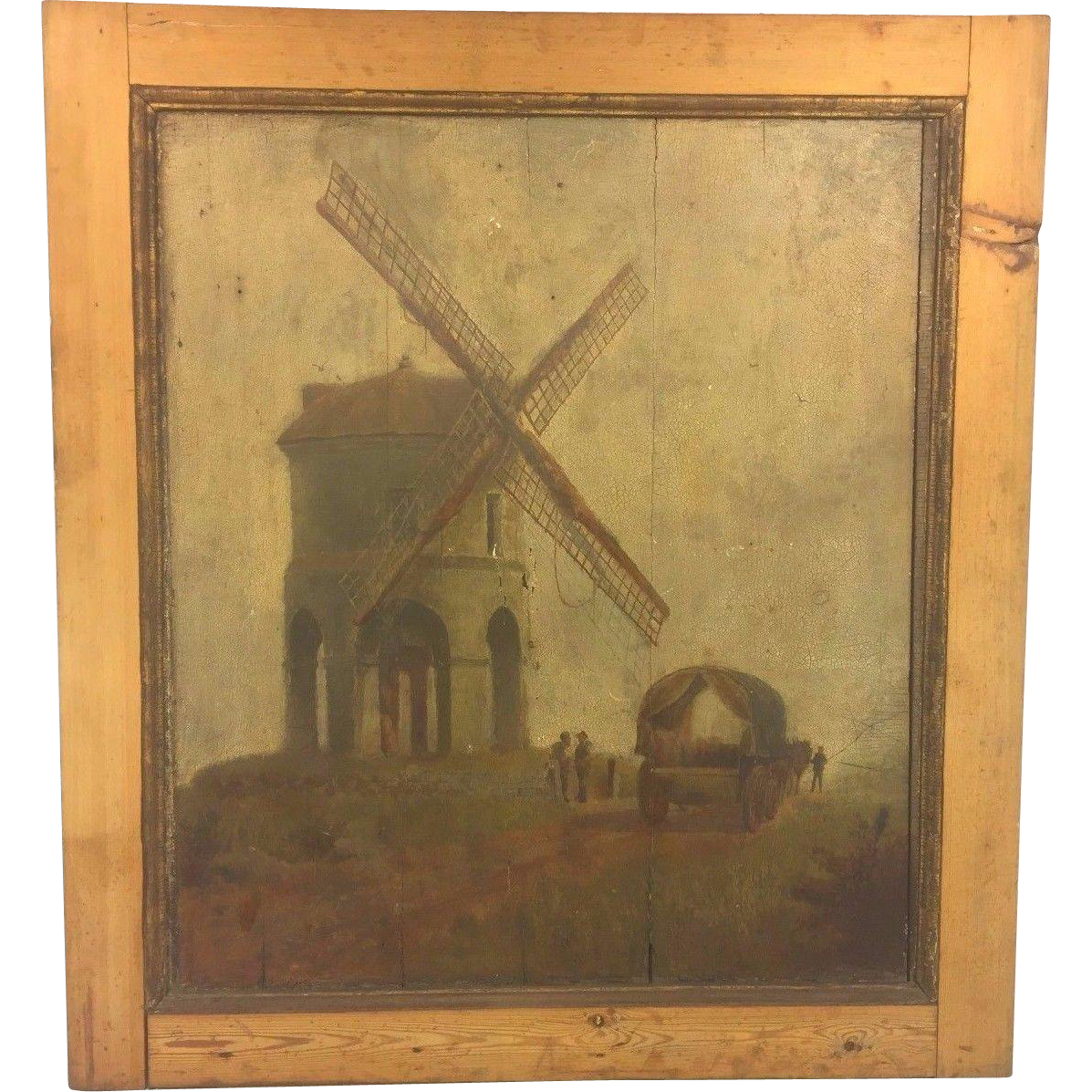 Antique Oil Painting On Wood Panels Windmill Wagon