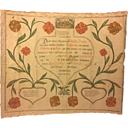 Antique 1798 Fraktur Birth/Baptismal Record Wendel Hank, Parents Wendel and Katarina, Pennsylvania Dutch Fraktur