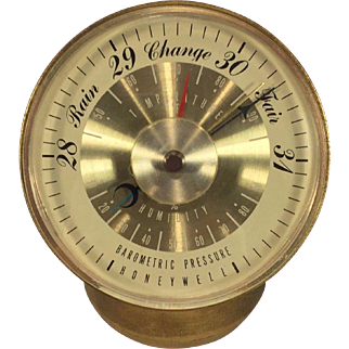 Vintage Honeywell Stand Up Barometer and Thermometer Metal Case Plastic Dial Operating 1960s