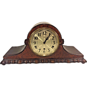 Vintage Herman Miller Tambour Case Clock Westminster Chimes Circa 1920s Runs Strikes & Chimes  Unique Scalloped Edge Base on Mahogany Case