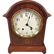 Antique Seth Thomas Clock Inlaid Wood Case Runs & Strikes Enamel on Porcelain Face Brass Feet 48-O Mvmt