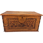 Antique Carved Diminutive Hinged Top Pine Chest with Glove Box Dovetailed Corners Hand Forged Metal Hinges & Handles