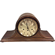 Vintage Junghans Mantel Clock Tambour Mahogany Case Westminster Chimes Runs Germany 1925