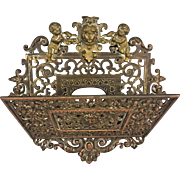 Antique Brass & Copper Lady & Cherub Wall Letter Holder Beautifully Detailed