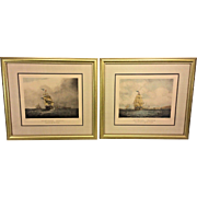 Vintage Pair of Nautical Engravings Outward and Homeward Bound Framed & Matted Ptd by S Walters Eng Henry Papprill Genesis Galleries COA