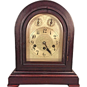 Antique Junghans Mantel Clock Westminster Chimes Not Running A13 Brass Movement Mahogany Case