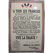 Vintage General Charles De Gaulle Free France Poster 1940 Professionally Framed Good Condition  Large Size Not Smaller Card  Probably Second Draw