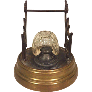 Antique Inkwell Patented 1866 w/ Porcelain Bowls & Brass Asian Motif Pen Holders Glass Dome English or American Made