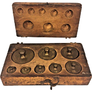 Antique Set of 8 Brass Scale Weights in Wood Case 5 Grams to 200 Kilograms