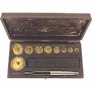 Vtg 1930s Fisher Scientific Brass Scale Weights in Composite Case w/ Tweezers  Made for William Ainsworth & Sons Denver CO 1 Gram to 100 Grams