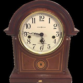 Vintage Howard Miller Mantel Clock  Barrister Model 613-180 Inlaid Wood Case Runs Strikes Westminster Chimes  AJK Kieninger Movement Germany