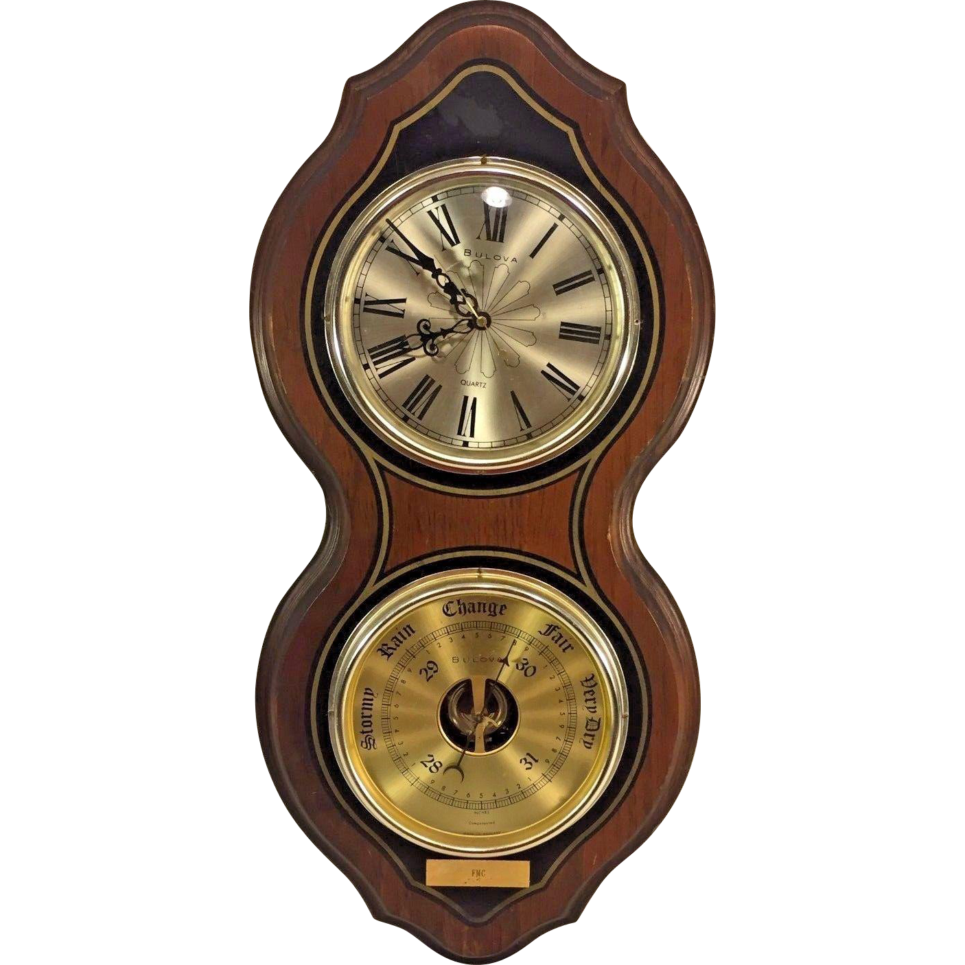Vintage clocks timepieces vintage collectibles from timelesstokensde vtg bulova quartz clock runs and operating barometer wall set wood case amipublicfo Choice Image