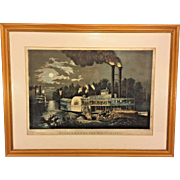 "1863 Currier and Ives Lithograph ""Wooding Up on the Mississippi"" Large Folio  Matted & Framed by M W Forsyth Philadelphia PA"
