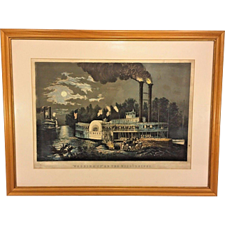 """1863 Currier and Ives Lithograph """"Wooding Up on the Mississippi"""" Large Folio  Matted & Framed by M W Forsyth Philadelphia PA"""