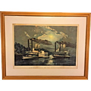 "1863 Currier & Ives Lithograph ""A Midnight Race on the Mississippi"" Large Folio  Framed & Matted by M W Forsyth Philadelphia PA"